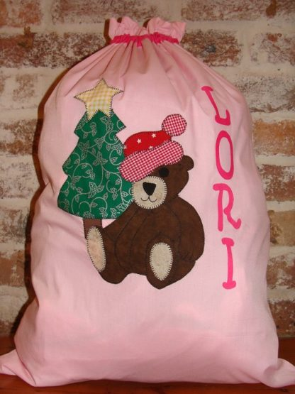 Handmade personalised Santa Sacks Baby Pink Bear