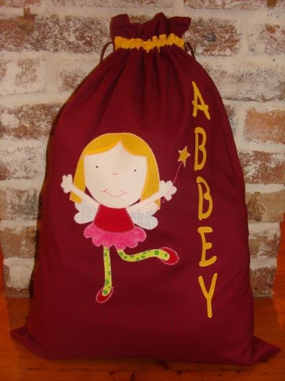 Handmade personalised Santa Sacks Burgandy Fairy
