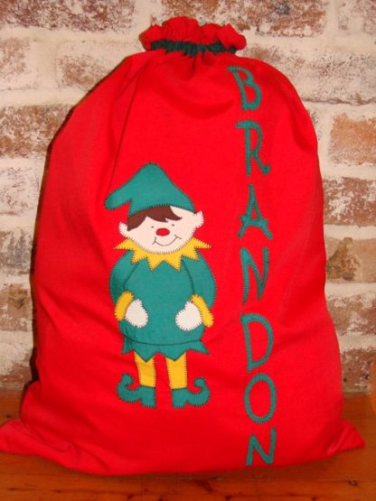 Handmade personalised Santa Sacks Red Elf