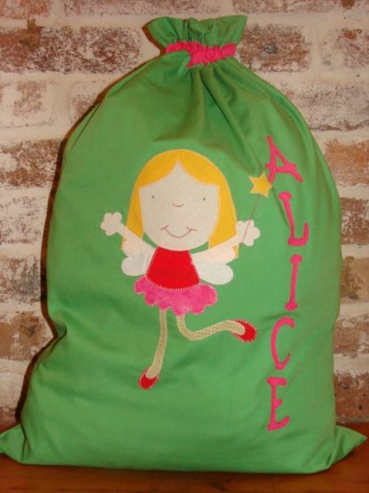 Handmade personalised Santa Sacks Lime Fairy