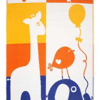 JS Giraffe Elephant Indoor Outdoor Rug