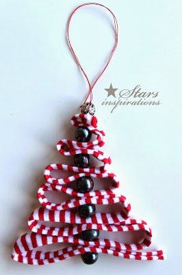 Threaded Ribbon and Bead Christmas Tree
